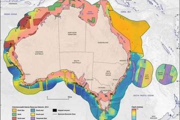 Map of Australia showing submarine canyons in relation to CMRs.