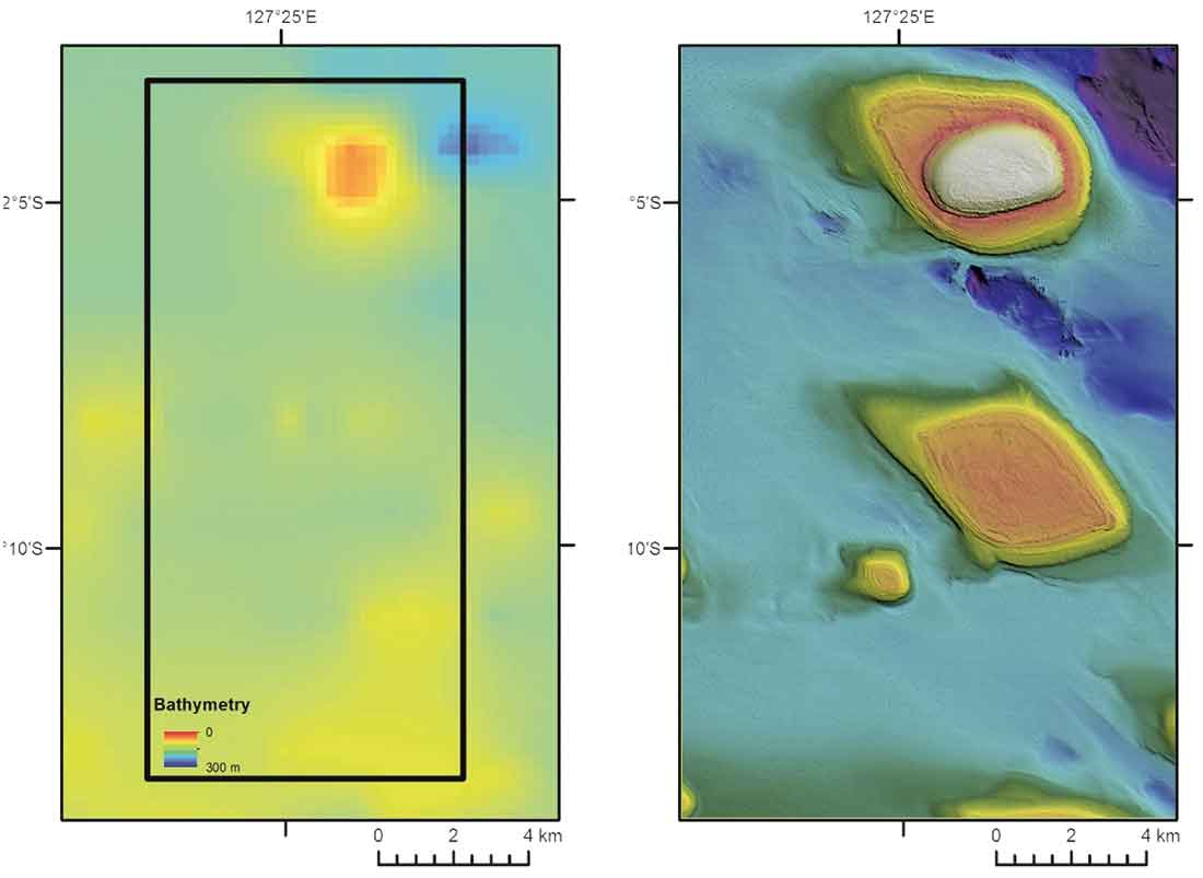 Before and after map of a region of seafloor.