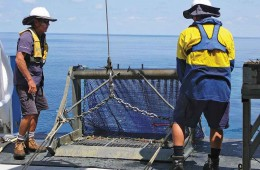 Researchers launching an epibenthic sled from ship deck.