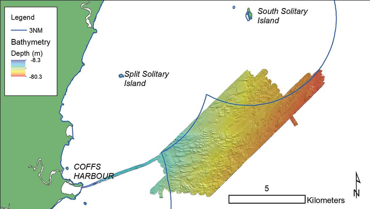 Map showing multi-beam sonar tracks