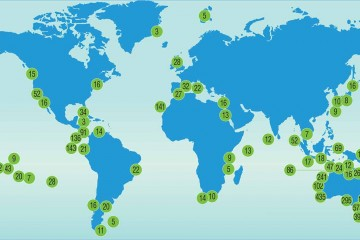 World map showing locations of Reef Life Surveys.