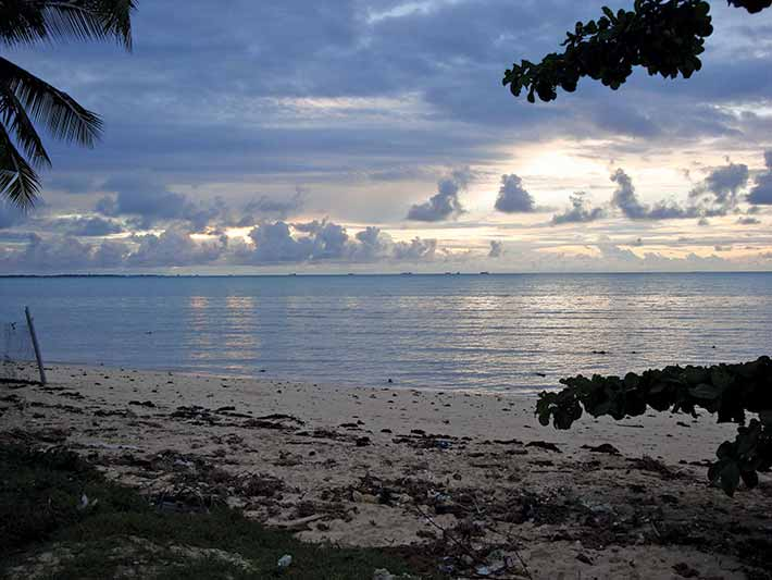 View over water from beach.