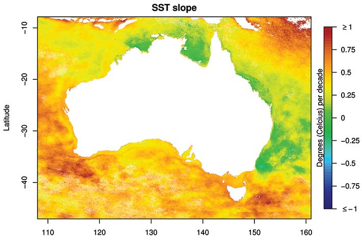 Map of Australia showing sea-surface temperature change.
