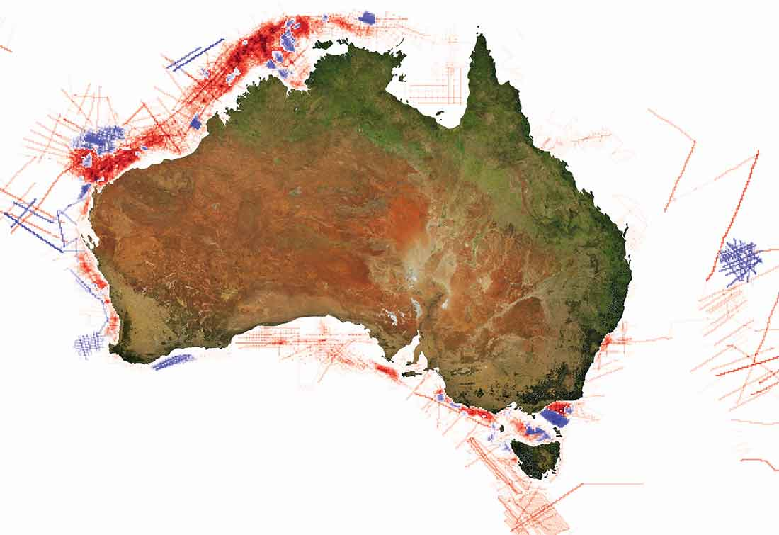 Map of Australia showing change in seismic surveys.