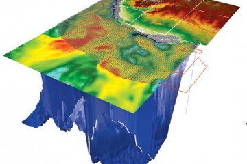 Ocean depth models showing larval dispersal clouds.