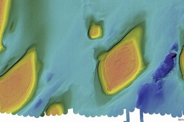 Swath map of sea floor.